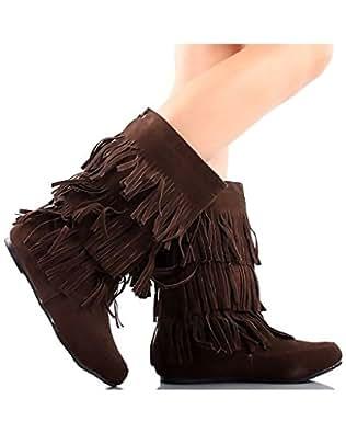 Women's Faux Suede Fringe Moccasin Beaded Tassle Mid Calf Boots Black, Camel. Brown (5.5, Dark Brown)