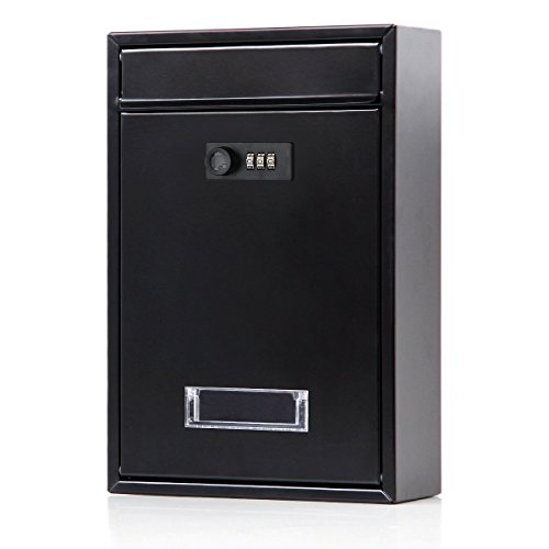 Locking Mailbox Wall Mounted Vertical- Jssmst Mail Boxes with Combination Lock Large Capacity, 12.6 x 8.46 x 3.35 Inch, Black, SM-0601CM