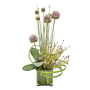 Creative Displays Mauve Thistle with Budding Lavender Allium in Square Vase Accented with Green Sticks in Acrylic Water 77