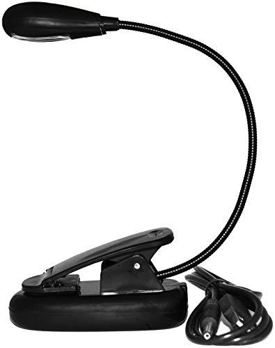 Single Gooseneck Grip - USB Reading Lamp with Flexible Gooseneck, Clip Mount and On/Off Switch (Single Arm, Black)