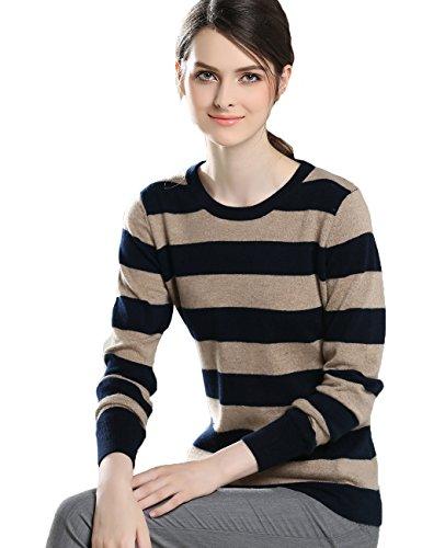 (Xiouli Women's 100% Cashmere Crewneck Striped Sweater)