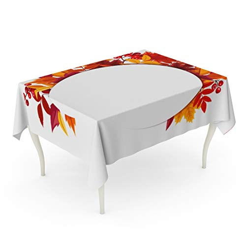 Bouquet Blank - Tarolo Rectangle Tablecloth 60 x 84 Inch Purple Leaf Autumn Leaves Brown Fall Circle Berry Blank Bouquet Table Cloth