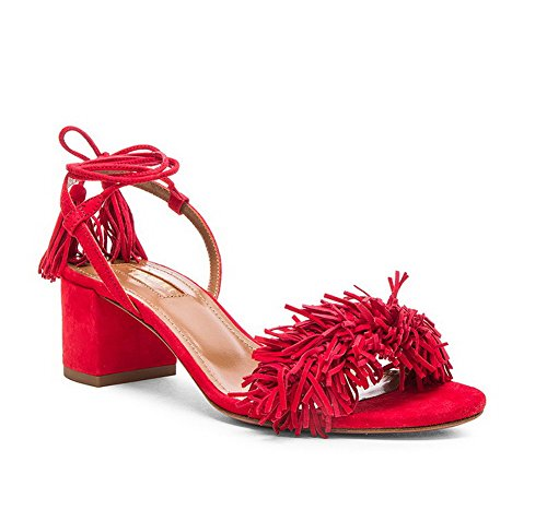Allhqfashion Chaussures À Lacets Bout Ouvert Bout Ouvert Talons Aiguilles Imitation Daim Sandales Rouges