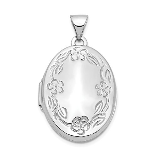 14k White Gold 21mm Oval Leaf Floral Scroll Border H/eng Photo Pendant Charm Locket Chain Necklace That Holds Pictures Fine Jewelry For Women Gift ()