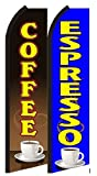 Coffee Espresso Standard Size Swooper Feather Flag Sign Pk of 2 (11.5x 2.5 Feet)