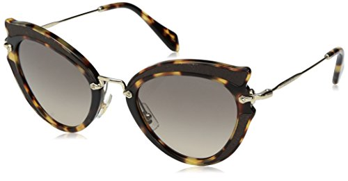 Miu Miu Women's 0MU 05SS Light Havana/Light Brown Gradient Grey - Miu Miu Noir Sunglasses