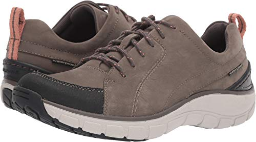 CLARKS Womens Wave Go Walking Shoe, Taupe Nubuck/Leather Combi, Size 6.5 Wide