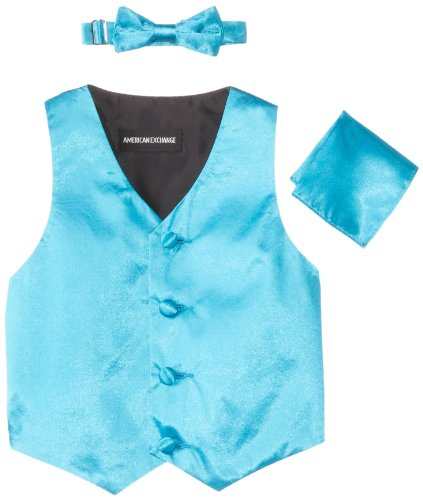 American Exchange Baby Boys' Satin 4 Piece Vest Set, Turquoise, X Large/24 - American Apparel Tie