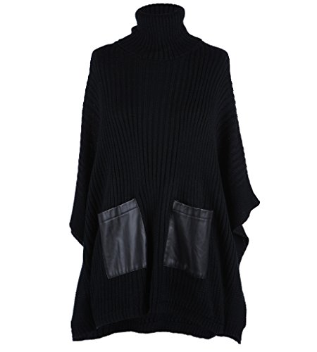 Ribbed Turtleneck Poncho - Ola Mari Ribbed Knit Turtle Neck Front Faux Leather Pockets Poncho Top, Medium, Black