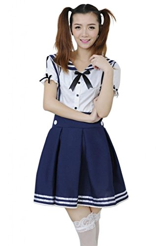 [Womens Lolita 2pcs School Uniform Dress Cosplay Costume Sailor Suit Navy Blue M] (Preppy School Girl Costumes)