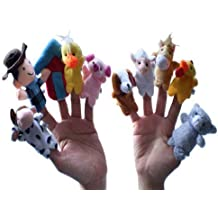 10pc Animal Velvet Old Macdonald Had a Farm Finger Puppets