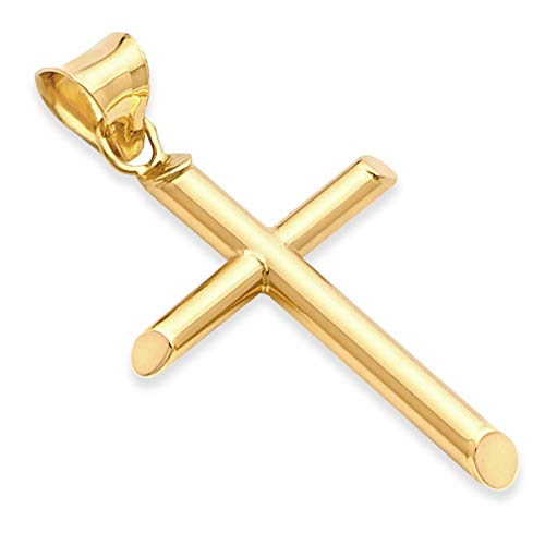 The World Jewelry Center 14k Real Yellow Gold Religious Classic Cross Charm Pendant (30 x 17.5 mm)