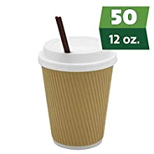 [50 Sets] 12 oz Insulated Ripple Paper Hot Coffee Cups With Lids & Stirrers - Disposable To Go Cups