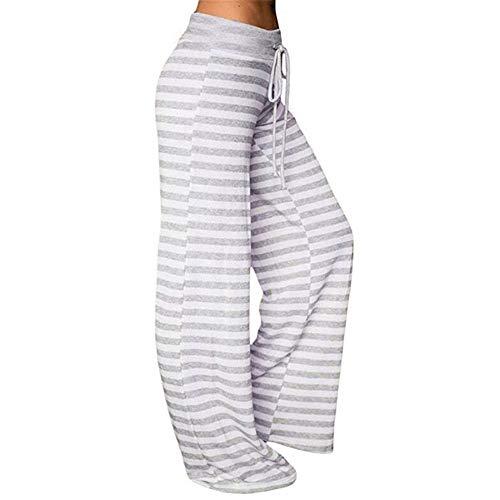 Gris de Casual Taille lastique Pants Lache Rayures Haute Yoga Pantalons SANFASHION Danse PfFv66