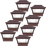 8 Pack GreenLighting Aluminum Solar Post Cap Light 4x4 Wood & 6x6 PVC (Bronze)