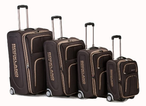 Rockland Luggage Varsity Polo Equipment 4 Piece Luggage Set, Brown, One Size by Rockland