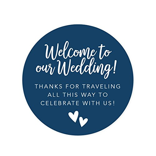 Andaz Press Out of Town Bags Round Circle Gift Labels Stickers, Welcome to Our Wedding Thanks for Traveling to Celebrate with Us, Navy Blue, 40-Pack, for Destination OOT Gable Boxes (Gifts For Out Of Town Wedding Guests)