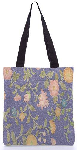 Snoogg Motivo Floreale 13.5 X 15 Pollici Shopping Bag Tote In Tessuto Di Poliestere