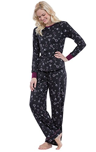PajamaGram Fun Womens Pajama Set - Women PJs, Wine Down, Black, M, 8-10 (Sale Wine Bulk For Glasses In)