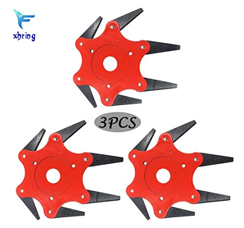 3Packs Trimmer Blade with 6 Blades, String Trimmer Parts, Trimmer Head 6 Cemented Carbide Blades, Fit 99% Trimmers and Brush Cutters Lawn Mowing Head Tool
