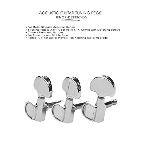 DJ233C-D3 TENOR Acoustic Guitar Tuners, Tuning Key Pegs/Machine Heads for Acoustic Guitar with Chrome Plated Finish and Chrome Plated Buttons.