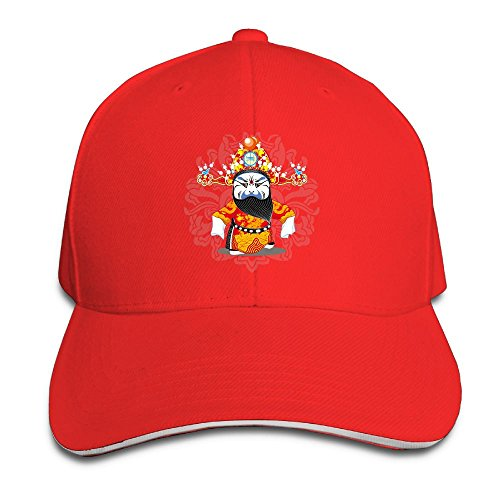 Opera Bobble Head (Creative Traditional Peking Opera Fashion Design Unisex Cotton Sandwich Peaked Cap Adjustable Baseball Caps Hats Red)