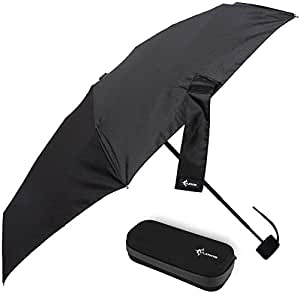 Travel Umbrella with Waterproof Case - Small and Compact for Backpack or Purse. Great Umbrella for Women, Men or Kids, Black (Black) - VumosTravelUmbrella-Black
