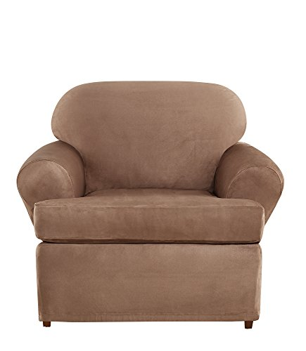 Clean Suede Chair - Sure Fit Ultimate Heavyweight Stretch Suede Individual 2 Piece T-Cushion Chair Slipcover - Luggage