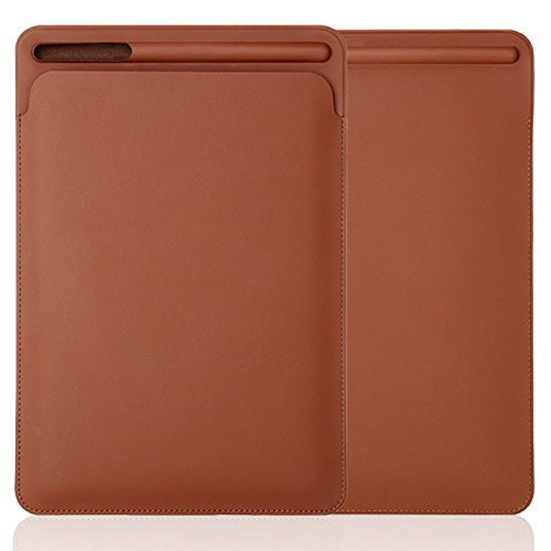 iPad Pro 10.5 Sleeve Case, PopSmart Premium PU Leather Sleeve Case for iPad Pro 10.5 2017 Pouch Bag Cover with Pencil Slot for iPad Pro 9.7 Inch (Brown)