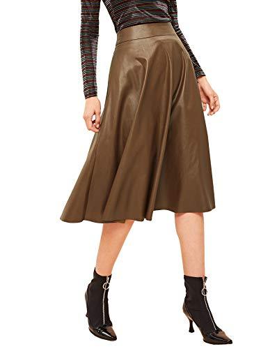 WDIRARA Women's Vintage High Waist Flared Skirt Midi PU Skirt Coffee S