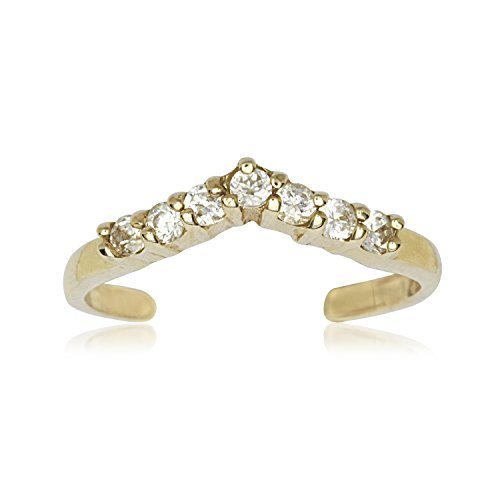 14k Gold Indian Ring - JewelryWeb Solid 10K Yellow or White Gold Adjustable Cubic Zirconia CZ V-Shape Toe Ring (10mm x 12mm) (Yellow-Gold)