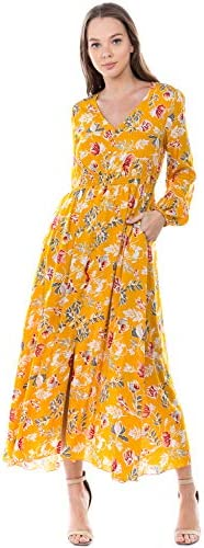 MIAMINE Maxi Dresses for Women V-Neck Casual Floral Print with Pockets Fall Winter Summer Exclusively On Amazon