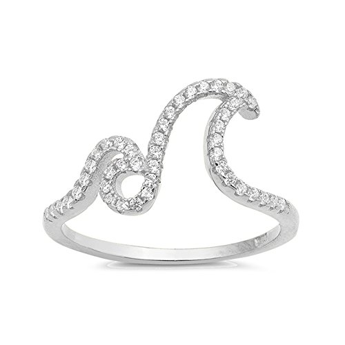 Ocean Wave Cubic Zirconia Ring - .925 Sterling Silver Ocean's Wave Cubic Zirconia Ring