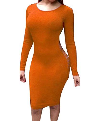 Arancione donne Cocktail Idoneità Backless Coolred Puro Colore Abito Manicotto Lungo Da vwxzwA