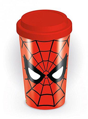 close up Spiderman Travel Mug Logo Coffee-To-Go-Becher