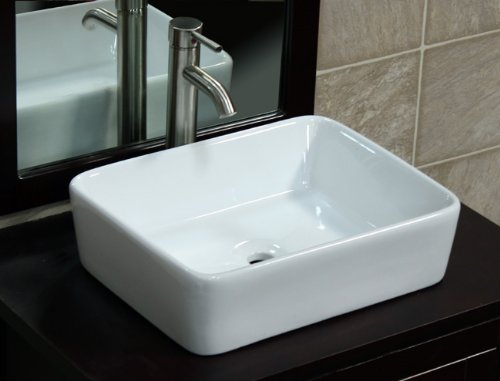 Bathroom Ceramic Porcelain Vessel Vanity Sink 7050L3 combo+ free brushed nickel faucet, Pop Up Drain with no overflow - 48 Bathroom Vanity Vessel Sink