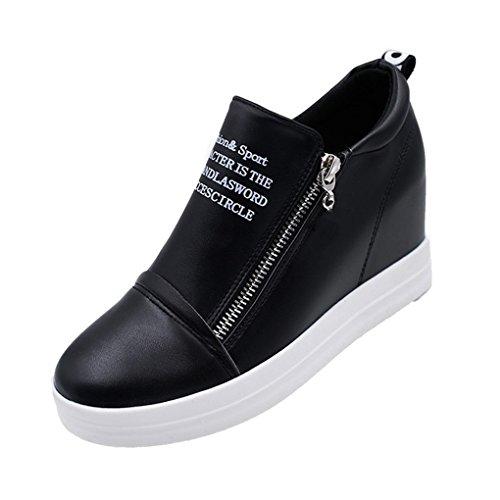 Cybling Mode Vrouwen Lage Top Platform Rits Verborgen Hiel Wedge Sneakers Zwart