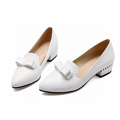 Latasa Mode Féminine Arc Bout Pointu Chunky Talon Slip-on Mocassins, Pompes Chaussures Blanc