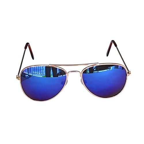 Children Aviator Uv400 Protection Metal Frame Sunglasses Blue Reflective Lens