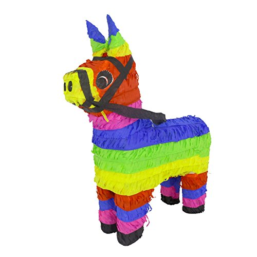 LYTIO Mexican Donkey Pinata Festive Colored Jackass Perfect for Center Piece or Photo Prop, Piñata Game or Decor ()