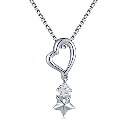 MaBelle 18K White Gold Diamond Star & Heart Pendant /w 925 Sterling Silver - 18k White Diamond Star Pendant Gold