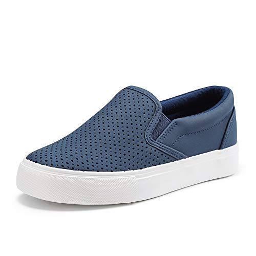 JENN ARDOR Women's Fashion Sneakers Perforated Slip on Flats Comfortable Walking Casual Shoes NAVY8 US