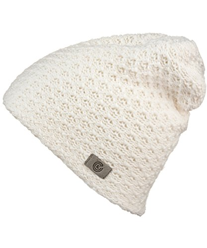- Evony Womens Textured Beanie with Warm Knit Lining- One Size (Off White)