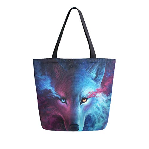SUABO Wolf Canvas Tote Bag Large Women Casual Shoulder Bag Handbag, Reusable Shopping Grocery Bag for Outdoors