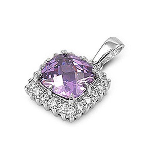 Studded Square Pendant Simulated Lavender .925 Sterling Silver Halo Charm