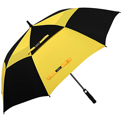 G4Free 68 Inch Automatic Open Golf Umbrella Double Canopy Extra Large Oversize Windproof Waterproof Stick Umbrellas(Yellow/Black)