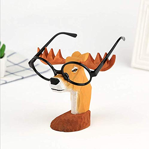 TANG SONG Creative Wood Hand Carved Eyeglass Holder Handmade Nose Deer Stand for Office Desk Home Decor Gifts (Gifts Carved Wood)