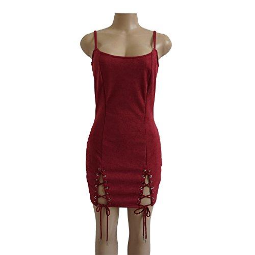 Damen Minikleid Jungen Mode Kleidung Elegant Vintage Wildleder ...