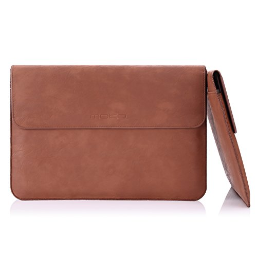MoKo Sleeve Bag for MacBook Pro 15-Inch, Protective PU Leather PC Notebook Case Cover for Apple MacBook Pro 15