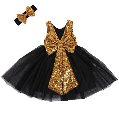 Cilucu Flower Girl Dress Baby Toddlers Sequin Dress Tutu Kids Party Dress Bridesmaid Wedding Gown Birthday Dress Dark Gold Black 2T-3T]()